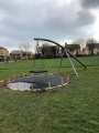 Play park during works, fitting rubber mulch.